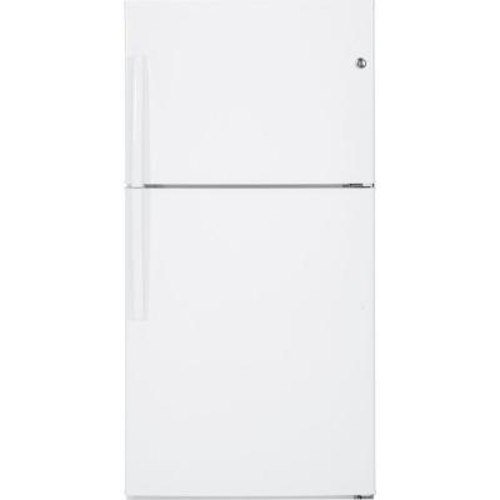 GE 32.75 in. W 21.2 cu. ft. Top Freezer Refrigerator in White