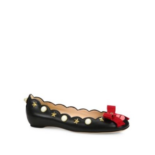 GUCCI Lexi Studded Leather Lip Ballet Flats