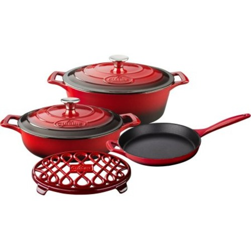 La Cuisine 6-Piece Enameled Cast Iron Cookware Set, Oval Casserole/Trivet