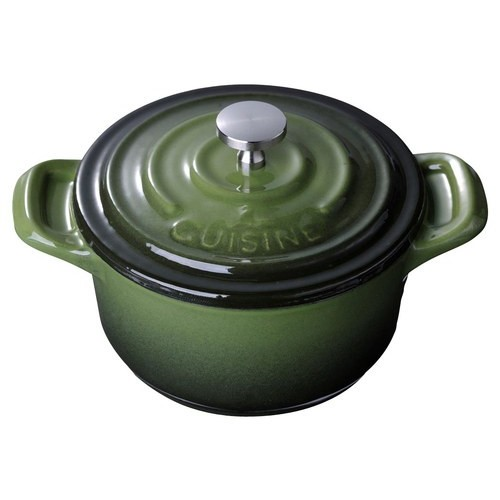 La Cuisine - Cast-Iron Round Covered Casserole - Green