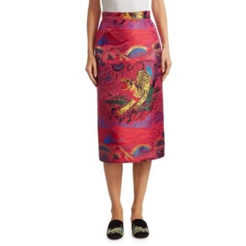 GUCCI Silk Tiger-Print Skirt