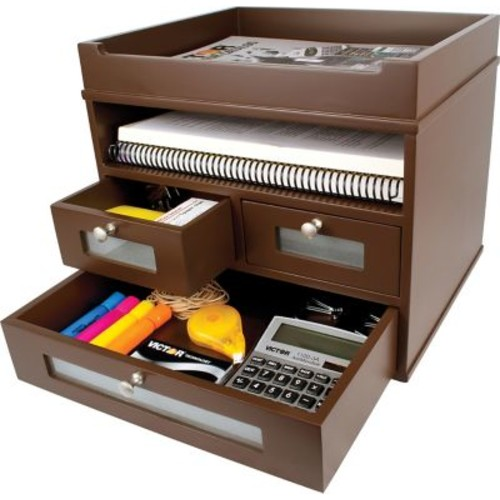 Victor Wood Desk Accessories, Mocha Brown
