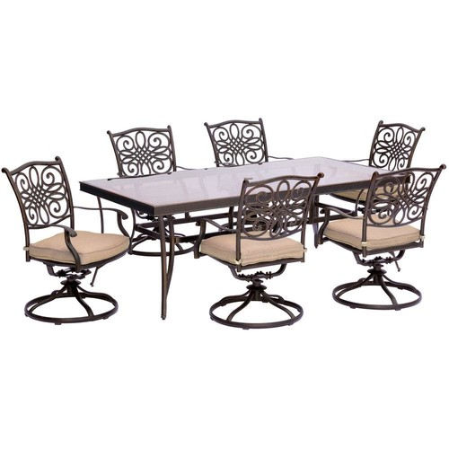 Hanover Traditions 7-Piece Aluminum Outdoor Dining Set with Rectangular Glass Table and Swivel Chairs with Natural Oat Cushions