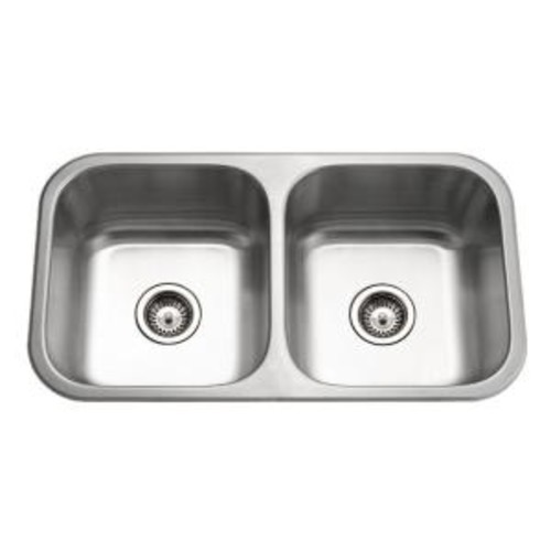 HOUZER Medallion Classic Series Undermount Stainless Steel 32 in. 0-Hole Double Bowl Kitchen Sink