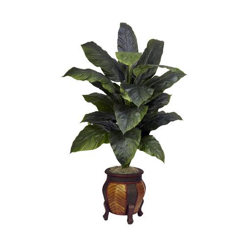Nearly Natural Home Garden Decor Giant Spathyfillum w/Decorative Vase Silk Plant Green