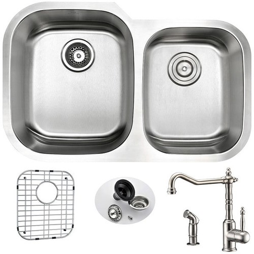 Anzzi Moore Undermount Stainless Steel 32-inch Double Bowl Kitchen Sink and Faucet Set with Locke Faucet in Brushed Nickel