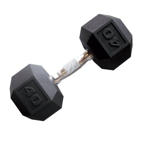 CAP Barbell Color Coated Hex Dumbbell [Black, 40 pound, Single]