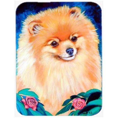 Caroline's Treasures Pomeranian Garden Bud Glass Cutting Board
