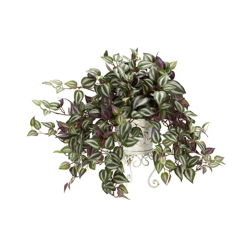 Nearly Natural Wandering Jew With Metal Planter Silk Plant Green