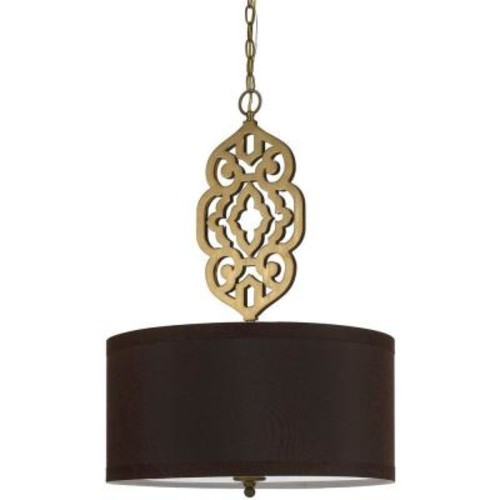 AF Lighting Grill 4-Light Satin Brass Pendant with Brown Shade