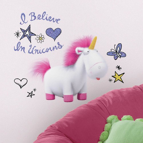 RoomMates 5 in. x 19 in. Despicable Me 3 I Believe In Unicorns Giant 10-Piece Peel and Stick Wall Decals