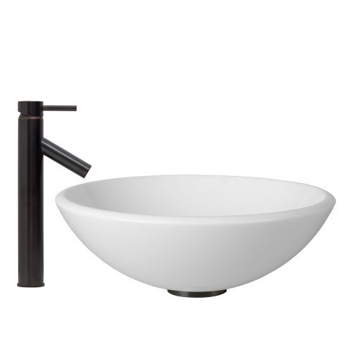 VIGO Glass Vessel Sink in White Phoenix Stone and Dior Faucet Set in Antique Rubbed Bronze