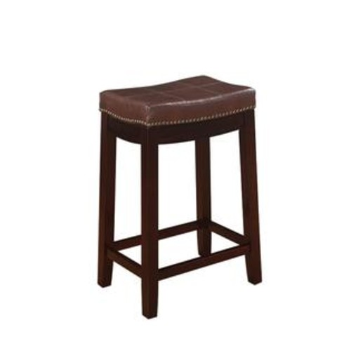 Linon Home Decor 55815BRNPU-01-KD-U Claridge Patches Brown Counter Stool
