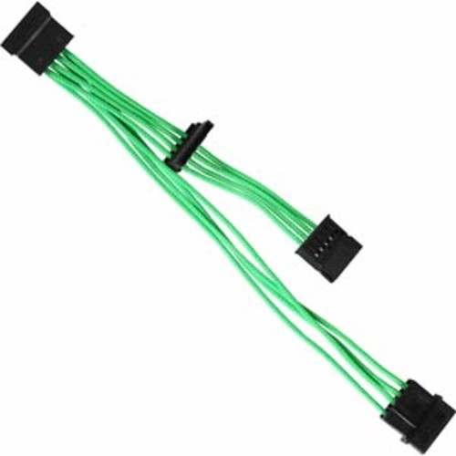 Raidmax 4 Pin Molex Male to 3 SATA Female Cable Premium Individually Sleeved Green