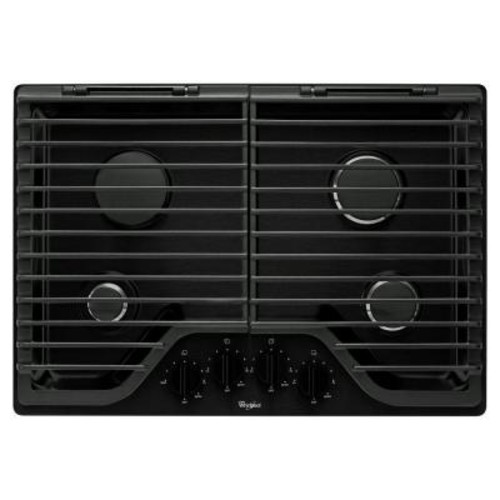 Whirlpool 30 in. Gas Cooktop in Black with 4 Burners including 18000-BTU SpeedHeat Burner