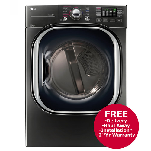 LG 7.4-Cu.-Ft. TurboSteam Electric Dryer - Black Stainless