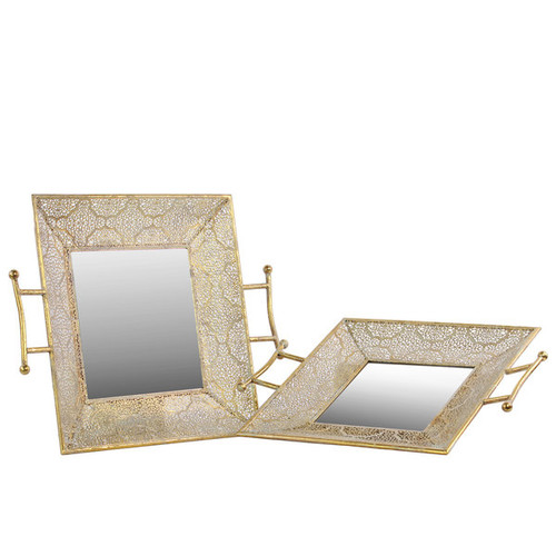 Metal Square Tray with Mirror Surface and Handles Pierced Metal Gold (Set of 3)