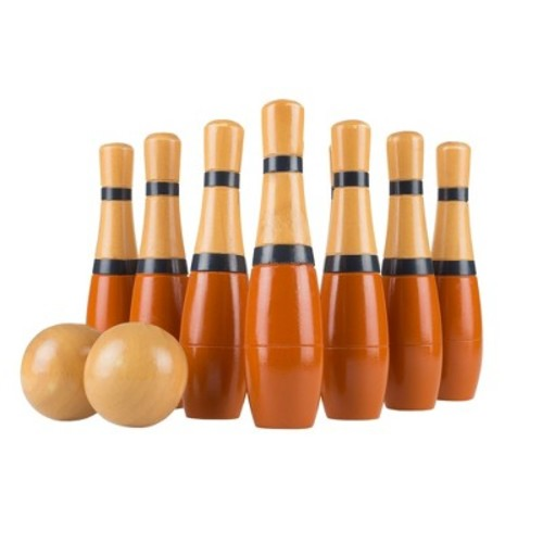 Hey! Play! Lawn Bowling Wooden Lawn Game - Red/Gray (8