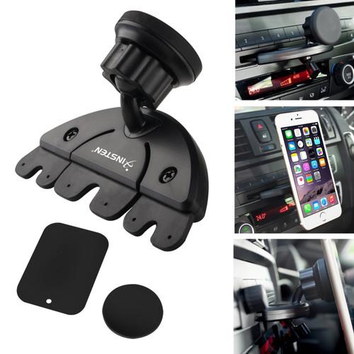 Insten 2130258 Universal Car CD Slot Magnetic Phone Holder Mount For iPhone 6/6S/6 Plus/6S Plus/Samsung Galaxy S7/ S7 Edge & More Phones, Black