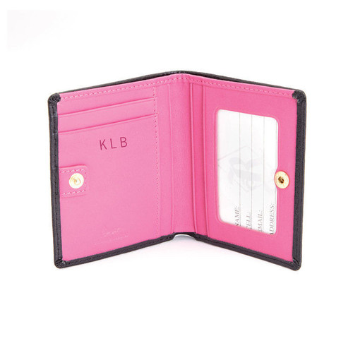 Personalized Royce Saffiano Leather RFID Blocking Mini Bow Leather Wallet