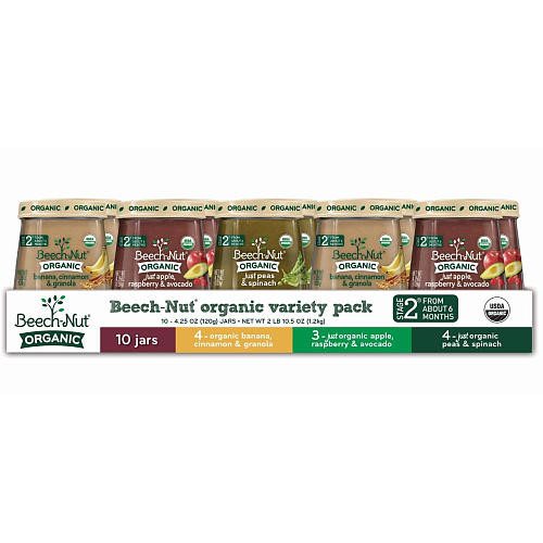 Beech-Nut Organic Stage 2 Variety Pack - 10 Jars