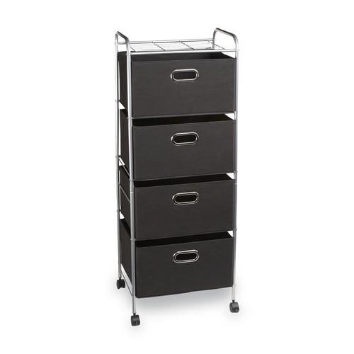 Essential Home Chrome/Black 4-Drawer Wire Storage Cart