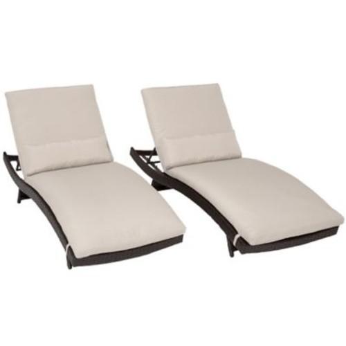 TK Classics Bali Chaise Lounge w/ Cushion (Set of 2); Beige