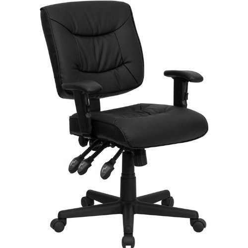 Flash Furniture Mid-Back Black Leather Multifunction Swivel Task Chair with Adjustable Arms [Arms]