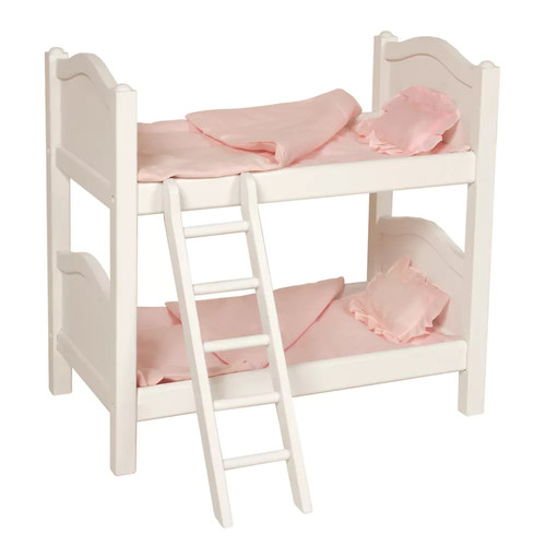 Guidecraft White Wooden Doll Bunk Bed - Fits 18