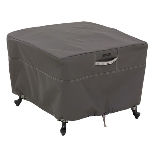 Classic Accessories Ravenna Large Square Ottoman/Side Table Patio Furniture Storage Cover, Fits up to 26