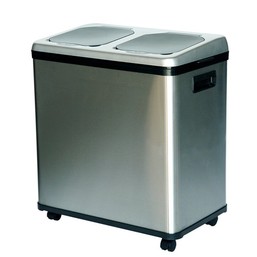iTouchless Stainless Steel Trash Can / Recycler, Automatic Sensor Touchless Lid, Dual-Compartment (8 Gal each)  16 Gal / 61 L
