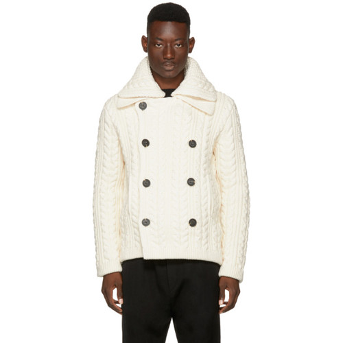 BURBERRY White Aran Peacoat Cardigan