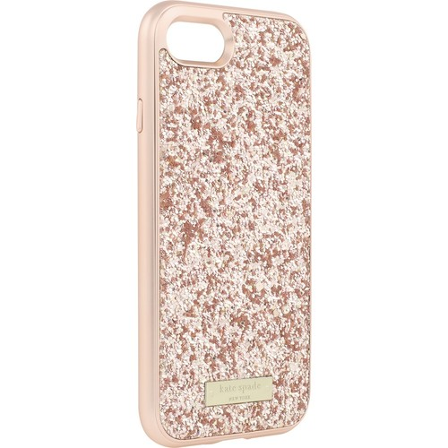 kate spade new york - Glitter Case with Bumper for Apple iPhone 7 - Rose gold/Exposed glitter rose g