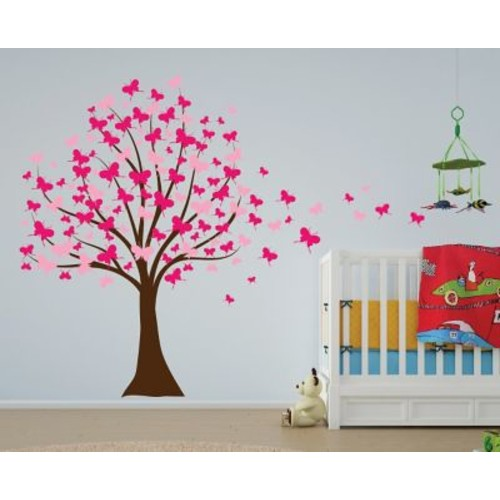 Innovative Stencils Butterfly Cherry Blossom Tree Baby Nursery Wall Decal; Soft Pink/ White
