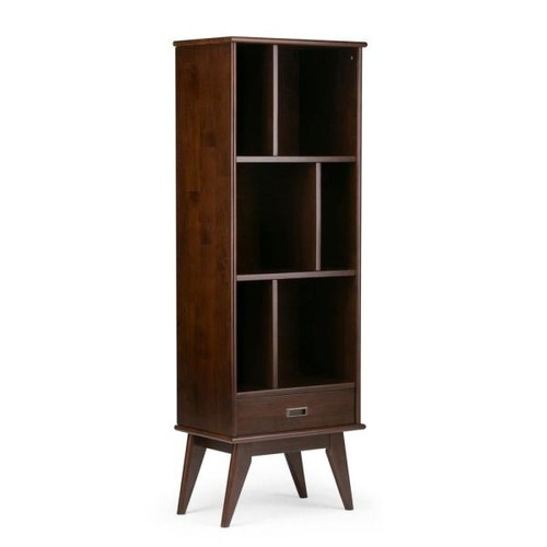 Simpli Home Draper Medium Auburn Brown Storage Open Bookcase