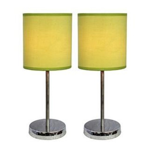 Simple Designs Home Simple Designs Chrome Mini Basic Table Lamp with Fabric Shade 2 Pack Set, Green