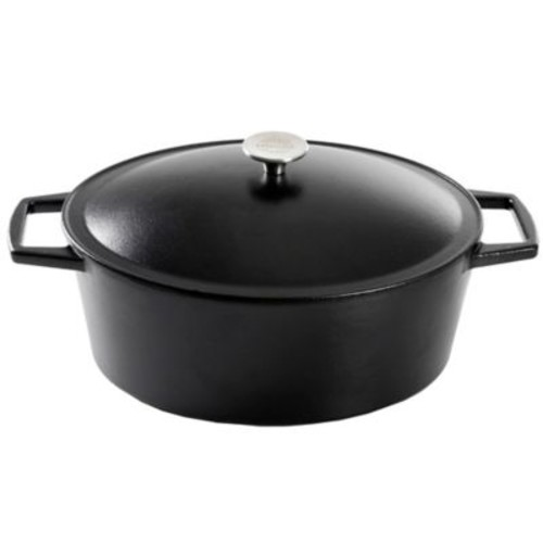 Artisanal Kitchen Supply Pre-Seasoned Cast Iron 7 qt. Dutch Oven in Black