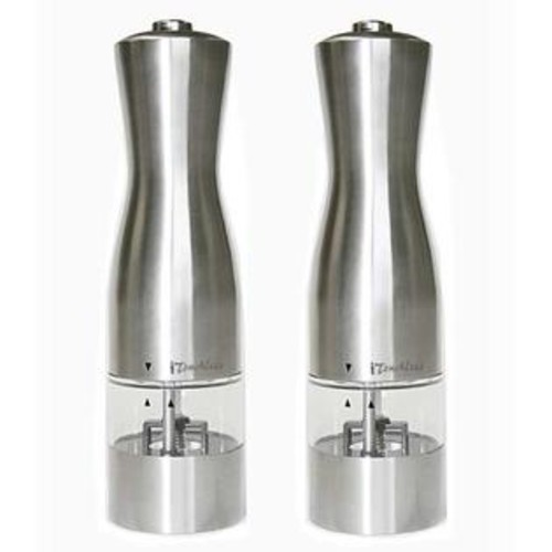 iTouchless Electric Stainless Steel Salt and Pepper Mills (Pack of 2)