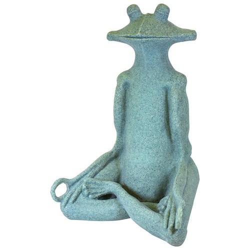 Emsco 21 in. Garden Yoga Frog Statue in Jade Green