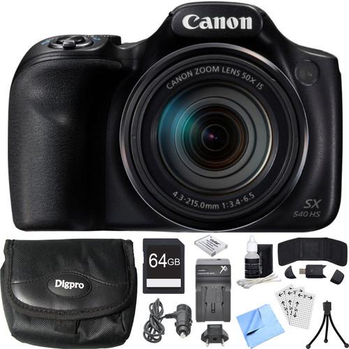 Canon PowerShot SX540 HS 20.3MP Digital Camera w/ 50x Optical Zoom 64GB Card Bundle