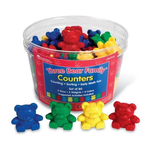 Three Bear Family Counters Basic Set, 4 Colors, Set of 80