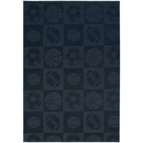 Garland Rug Sports Balls Navy Area Rug; 5' x 7'