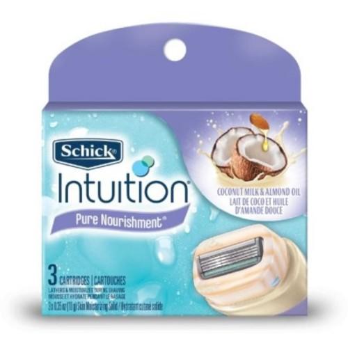 Schick Intuition Pure Nourishment with Coconut Milk & Almond Oil Razor Refills 3 ea (Pack of 6)