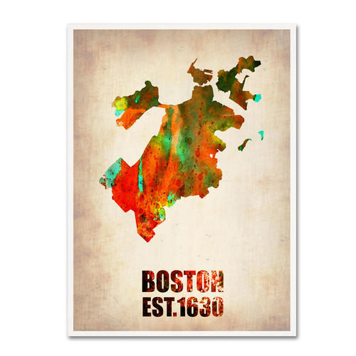 Trademark Global Naxart 'Boston Watercolor Map' Canvas Art [Overall Dimensions : 18x24]