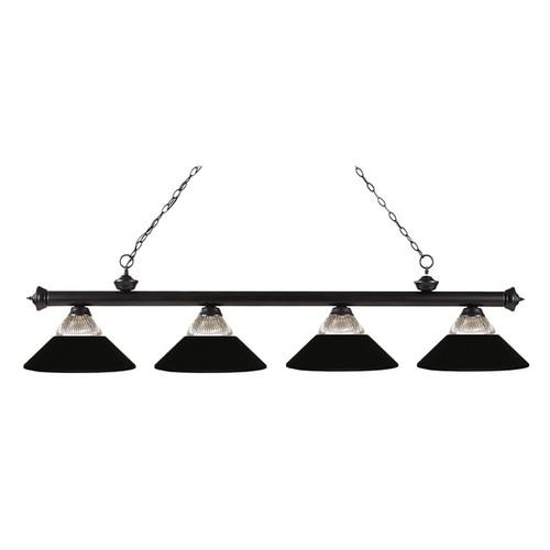 Z-Lite 4-light Riviera Bronze Clear Ribbed Glass and Metal Matte Black Billiard Fixture