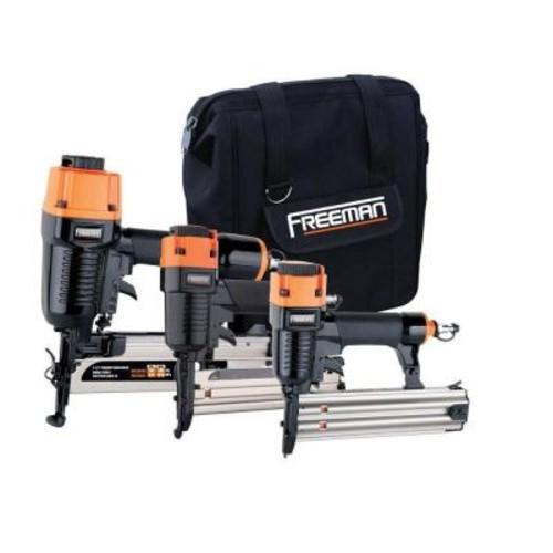 Freeman Pneumatic 3-Piece Kit with 16-Gauge Finish Nailer, 18-Gauge Brad Nailer and 18-Gauge Stapler with Bag
