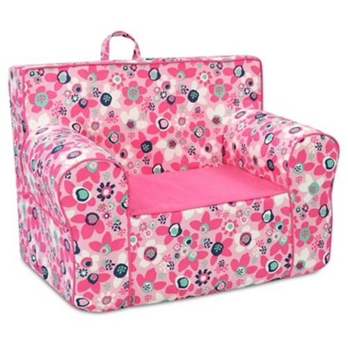 Tween Grab-N-Go Foam Chair With Handle - Wildflower With Passion Pink & White - Kangaroo Trading Co.