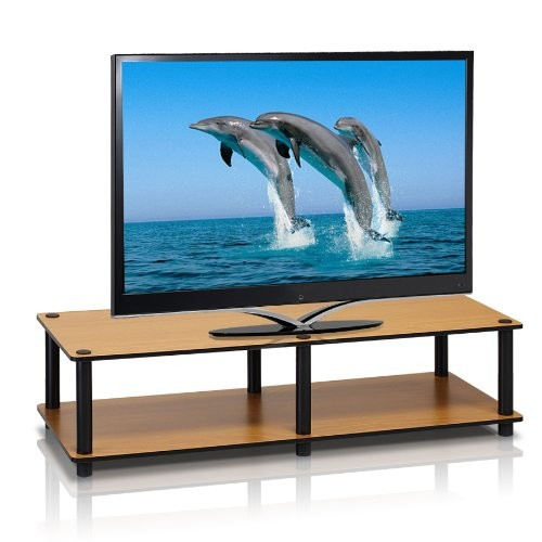Furinno 11175LC(BK)/BK Just No Tools Wide Light Cherry Television Stand with Black Tube