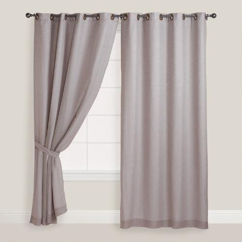 Slate Gray Linen Grommet Top Curtains, Set of 2