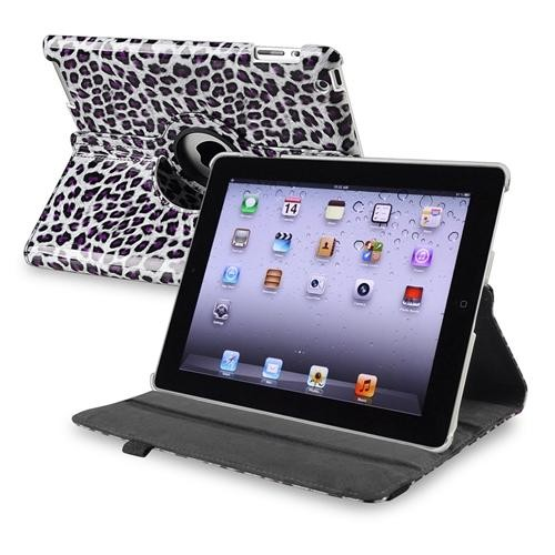 INSTEN 360-degree Swivel Leather Case For Apple iPad 2 / 3 / 4, White / Purple Leopard